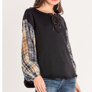 MISS ME Laced Sweatshirt Plaid Sleeves 100% Cotton